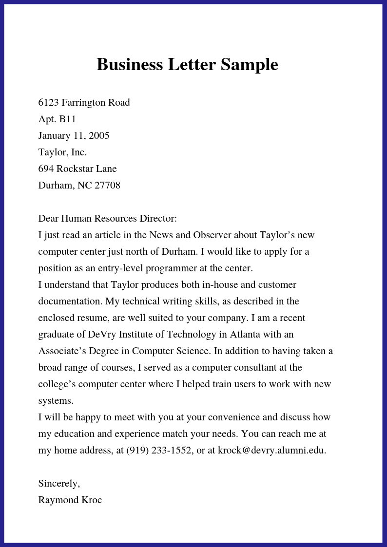 Free Business Letter Template In Word Doc Amp Pdf Format
