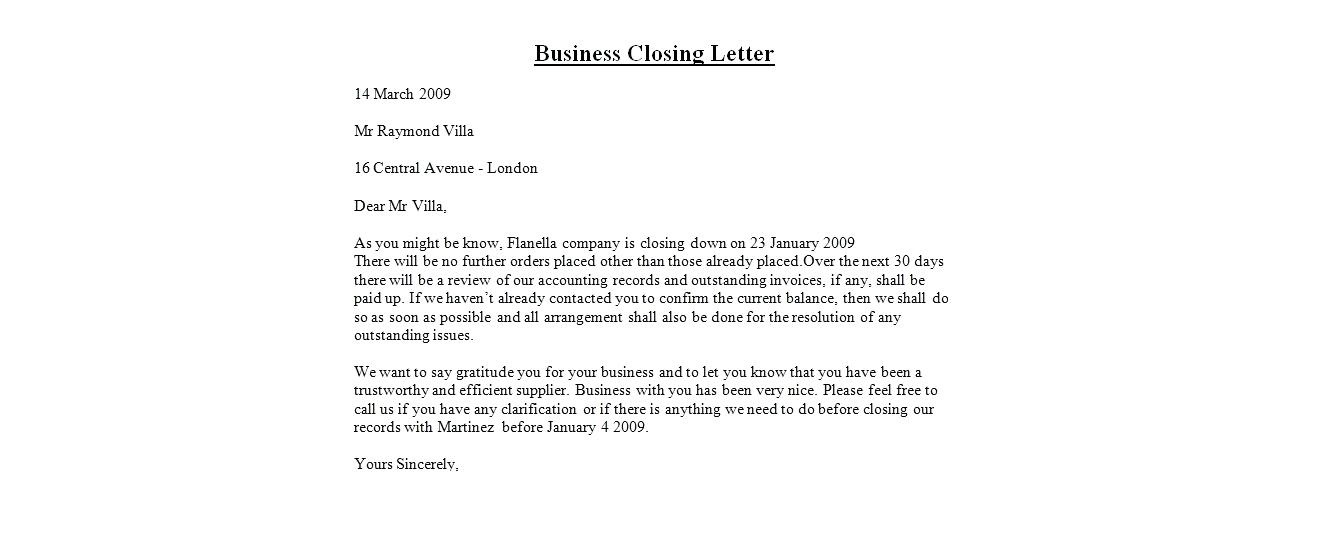 Letter Closings Thank You from businessletter.net