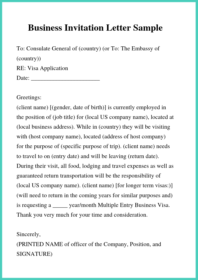 Invitation Business Letter Example