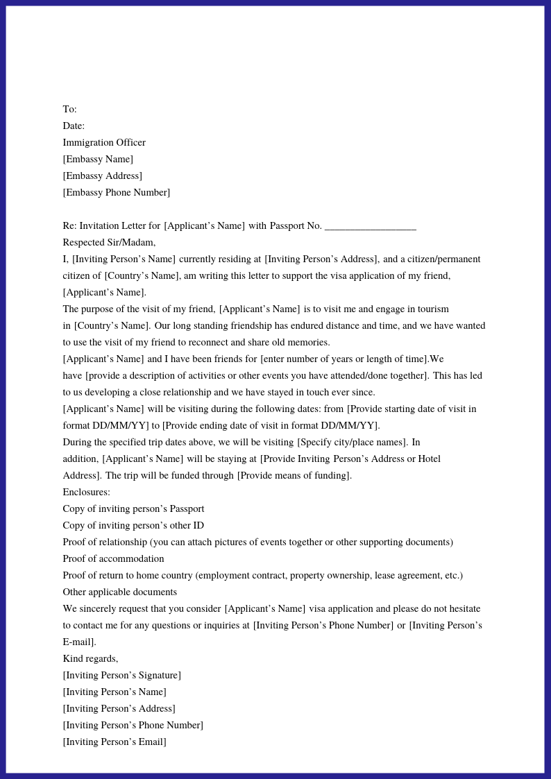 Us Visa Invite Letter Template from businessletter.net